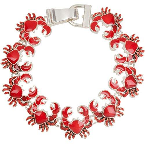 Heirloom Finds Red Enamel Beach Crab Charm Bracelet