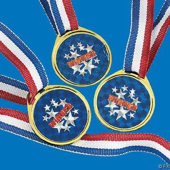 Holographic Goldtone Laser Winner Medals (1 dz)