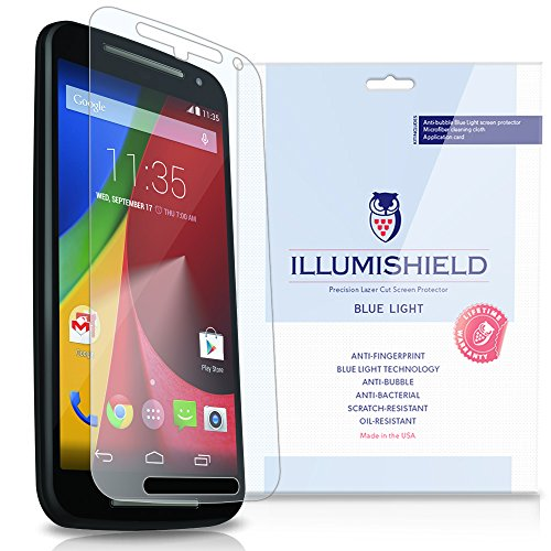 Illumishield - Motorola Moto G Screen Protector (2014) (2Nd Generation) With Hd Blue Light Uv Filter And Lifetime Replacement Warranty / Premium High Definition Clear Film / Reduces Eye Fatigue And Eye Strain - Anti- Fingerprint / Anti-Bubble / Anti-Bacte