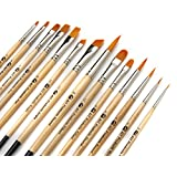 AIT Art Paint Brushes, Set of 14, Excellent Variety of Brush Shapes for All Needs, Handmade in USA to Last Without Shedding or Breaking, Allowing Painting with Brushes That Artists Trust to Perform