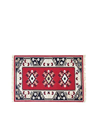 Tapis a Porter Alfombra Doubleface Milas Rojo/Marfil/Multicolor 80 x 200 cm