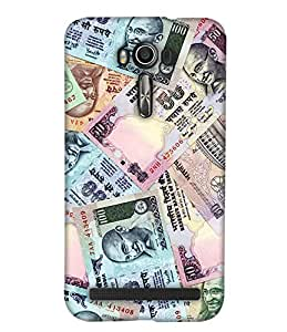 PrintHaat 3D Hard Polycarbonate Designer Back Case Cover for Asus Zenfone 2 Laser ZE601KL (6 Inches) (currency notes :: indian currency notes texture in green and pink)