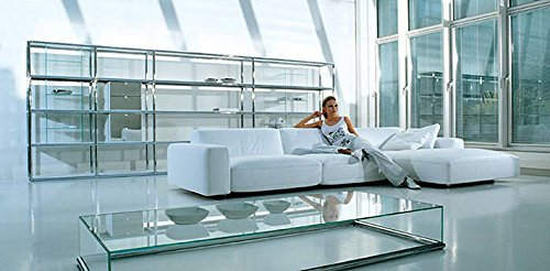 Calia Maddalena - Melinda sofá, Hq Leather Double Thickness White, Armchair - 130x76x90cm
