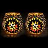 EarthenMetal Handcrafted Colourful Mosaic Decorated On White Candle Tealight Holder (Candle Light Holder) - Set...