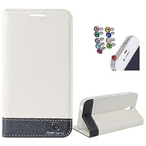 DMG HTC Desire 620G Flip Cover, DMG PRaiders Premium Magnetic Wallet Stand Cover Case for HTC Desire 620G (White) + 3.5mm Jewel Dust Jack