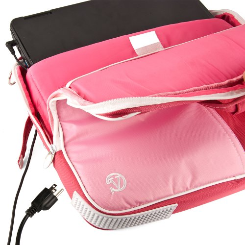 Innovative 13 inch Cupcake Pink Pindar Proceed Friendly Laptop Bag for the Acer Aspire S Ultrabook with Extra Features: Reinforced construction, Velcro charging anchorage to charge without removing device, 8.3 inches in dimension and 6.5 in width front Po