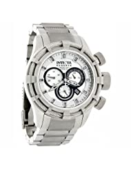Invicta 1446 Men's Reserve Collection Silver Dial Chronograph Bolt Watch Swiss Made Water Resistance To 660 Feet (200 Meters)