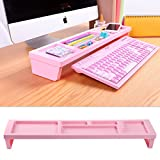 KOSOX Board Desktop Organizer Rack Office Supply Holder/ Office Computer Desk Supply Caddy Tray/ Anti Dust Shelf Over Keyboard (For Papers, Pens, Phones, Snacks) (Pink)