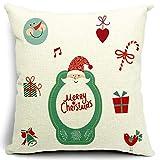 選べる 柄  クリスマス モチーフ クッション カバー  綿 麻 製   45 × 45 cm (タイプE)