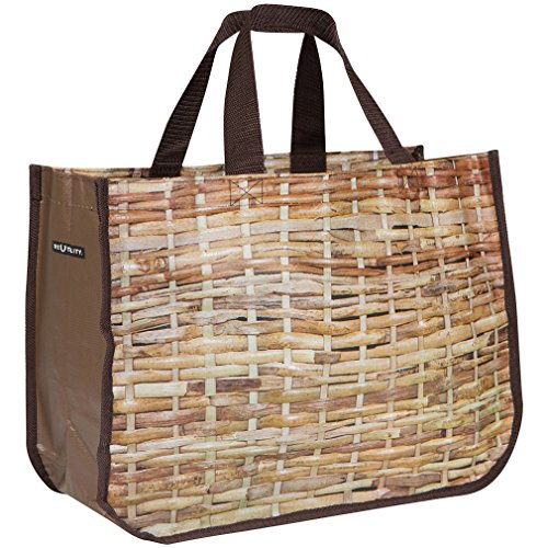 Reusable Market Grocery Bag Tote - Basket Weave Print - Brown - Made from Recycled Materials