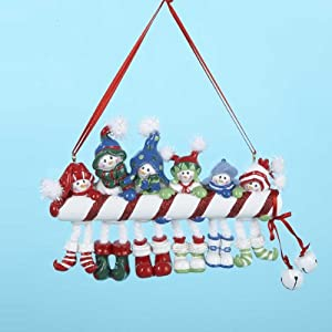 Candy Cane Snowman Family OF 6 Ornament