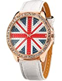AMPM24 Women Lady Girl Union Jack Uk British Flag White Leather Quartz Watch
