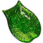 Glass Owl Tidbit Plate - Green