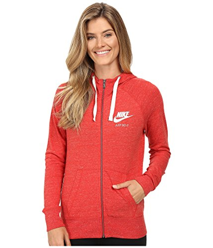 New Nike Women's Sportswear Gym Vintage Hoodie University Red/Sail X-Large