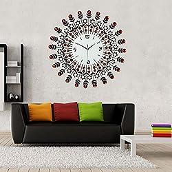 NEOTEND 3D Wall Clock 98pcs Diamonds Decorative Clock Red Diameter 23.6