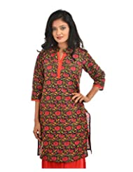 Fashiana Women's Cotton Straight Kurti (FKRT014 , Black , S)