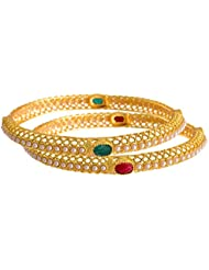 FL - Traditional & Ethnic One Gram Gold Plated Red Green Stone Bangle Set With LCD/Champagne Color Austrian Diamonds...