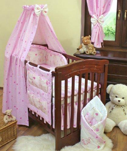 Pink hearts 11 pieces bedding set Cot (60cm x 120cm)