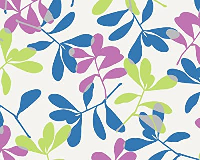 Wallpaper Coloured Twigs White Blue Pink Green