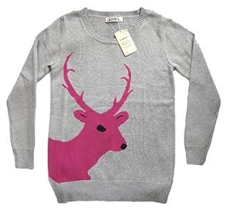 Christmas Sweater Cardigan Various Patterns of Reindeer Snowman Snowflakes Tree (L, Reindeer-Grey)