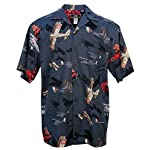 Vintage Fighters - Men's Hawaiian Print Aloha Shirt - in Black