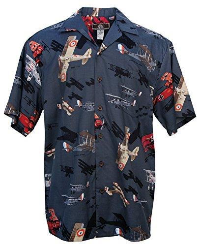 Vintage Fighters - Men's Hawaiian Print Aloha Shirt - in Black 0