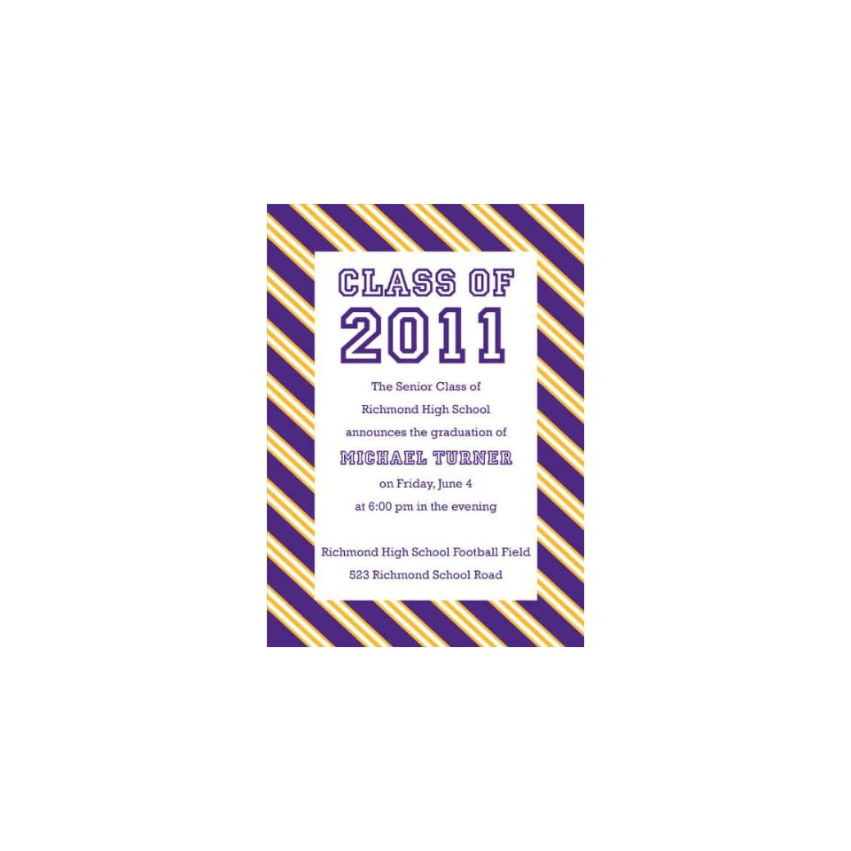 Repp Tie Purple Bright Gold Graduation Invitations On PopScreen