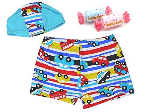 【Babystity】 子供 ベビー 男の子 水着 帽子 ハンドタオル 3点セット (80cm-100cm) KR-SWI000