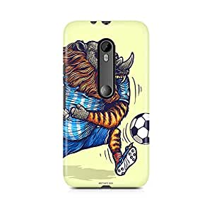 Motivatebox - Moto G3 (3rd Generation) Back Cover - Rihno and Football Polycarbonate 3D Hard case protective back cover. Premium Quality designer Printed 3D Matte finish hard case back cover.