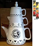 Disney Parks Gourmet Mickey Stacked Ceramic Tea/Coffee Pot, Creamer & Sugar Set - Authentic Original Gourmet Mickey Design - Disney Parks Exclusive & Limited Availability + (2) Arabica Single Cup Instant Coffee Packets Included