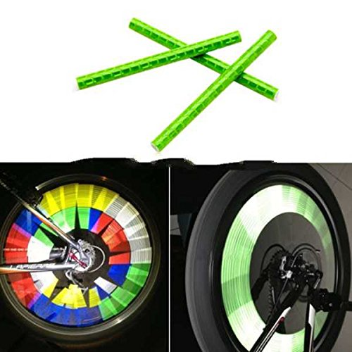 Moko Bicycle Wheel Spoke Reflector Reflective Mount Clip Tube Warning, Green (Pcs In One Packaging, The Price Is For Pcs) : ~ .