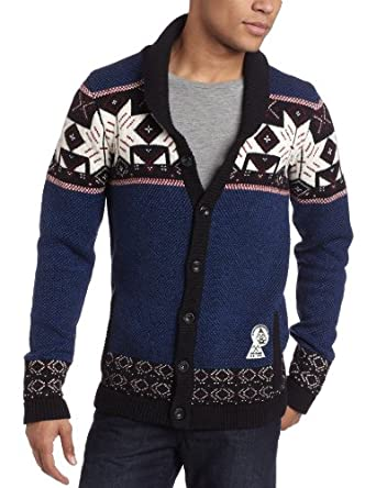 J.C. Rags Men's Star Knit Cardigan Sweater, Explorer Blue, XX-Large