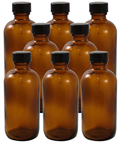 8 Pack 4oz Amber Boston Round Glass Bottle 22/400 With Cone Lined Phenolic Cap (4 Ounce Glass Bottles compare prices)