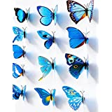 12 Set PVC 3d Butterfly Decal Wall Stickers Kids Room Decor Decoration Sticker (Blue)