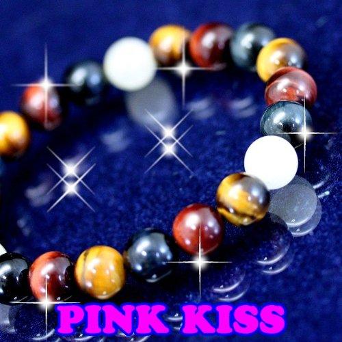 PINK KISS★ギャンブルや投資に強いといわれる金運パワーストーンが結集★強力な偏財運アップ★天然石パワーストーンブレスレット 約20cm 【送料無料】