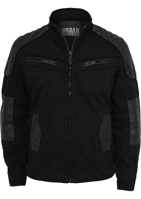 URBAN CLASSICS – Cotton/Leathermix Racer (black) – Jacke jetzt bestellen