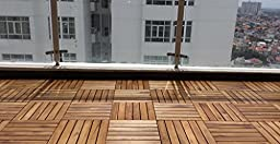 Solid Acacia Decking Tiles, 6 slats, Made in Vietnam, box of 18