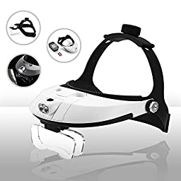 FiveJoy Handsfree Head Mount Magnifier with Detachable LED Head Lamp - 5 Lenses Included: 1.0X - 3.5X - Clip on 2 Lens Together to Get Magnification up to 6.0X