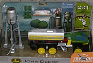 John Deere 2 in 1 Double Duty 8 Inch Long Transforming Vehicle - Heli Crop Duster that can Transform from Tanker to Helicopter