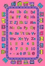 Kids Area Rug Design ABCD Fun Girls Pink (3 Feet 3 Inch X 4 Feet 10 Inch)
