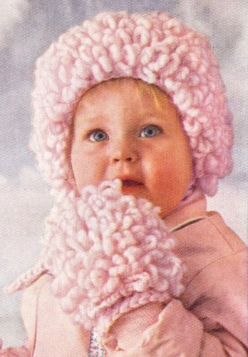 Vintage Crochet PATTERN to make - Loopy Baby Cap Hat Bonnet Mittens. NOT a finished item. This is a pattern and/or instructions to make the item only.