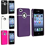 4 - Pack Snap-on Rubberized Cases / Skins / Covers compatible with iPhone 4 / 4S - Purple, White, Hot Pink, Black