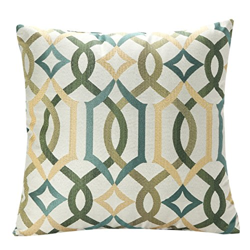 SimpleDecor Jacquard Geometric Links Accent Decorative Throw Pillow Covers Cushion Case Multicolor 18X18 Inch Green