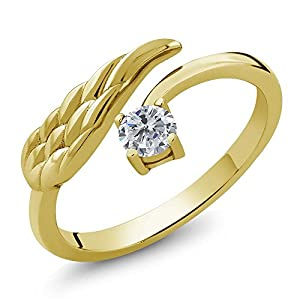 0.25 Ct Round G/H Diamond 18K Yellow Gold Plated Silver Wing Ring