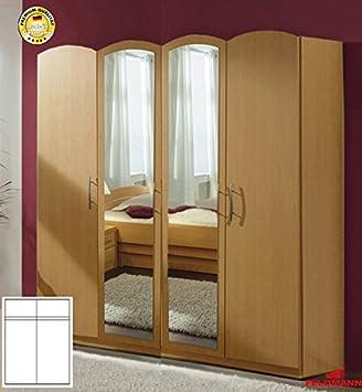 Kleiderschrank 97574 Schlafzimmerschrank 4-turig buche / Spiegel 185cm