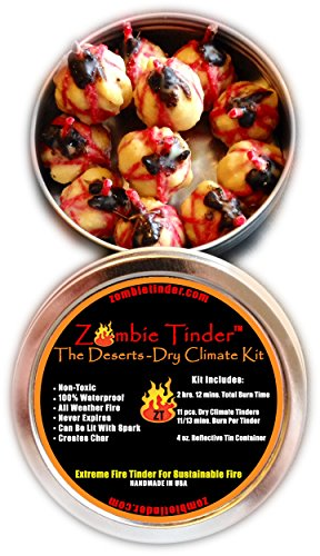 Zombie Tinder - The Deserts: Dry Climate Kit - Extreme Fire Starter & Tinder - Over 2 Hours & 12 Minutes of Total Burn Time - Easy Light Wick - Spark Light (Starter Wicking compare prices)
