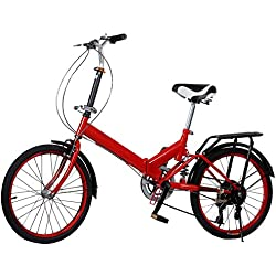 Wakrays 20'' Wheel Aluminum Frame 6 Shift Speed Bicycle Folding Storage School Sports (Red)
