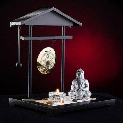 Pajoma Gong - Giardino zen con gong, statua del Buddha e lumino, colore: Nero/Vari colori