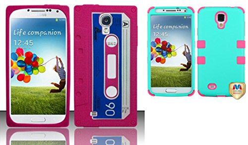 Combo Pack For Samsung Galaxy S4 I9500 - Cassette Tape Silicon Skin Case - Hot Pink Sccs And Mybat Rubberized Teal Green/Electric Pink Tuff Hybrid Phone Protector Cover For Samsung Galaxy S 4 (I337/L720/M919/I545/R970/I9505/I9500)