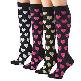 Tipi Toe Women's 4-Pack Colorful Patterned Knee High Socks, K20, 9-11
